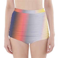 Digitally Created Abstract Colour Blur Background High-Waisted Bikini Bottoms