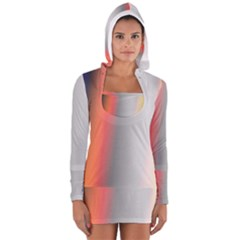 Digitally Created Abstract Colour Blur Background Women s Long Sleeve Hooded T-shirt