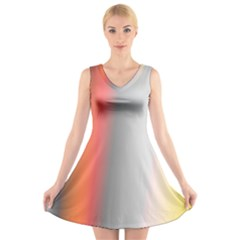 Digitally Created Abstract Colour Blur Background V Neck Sleeveless Skater Dress