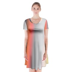 Digitally Created Abstract Colour Blur Background Short Sleeve V-neck Flare Dress