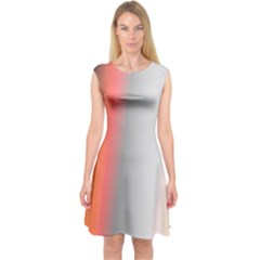 Digitally Created Abstract Colour Blur Background Capsleeve Midi Dress