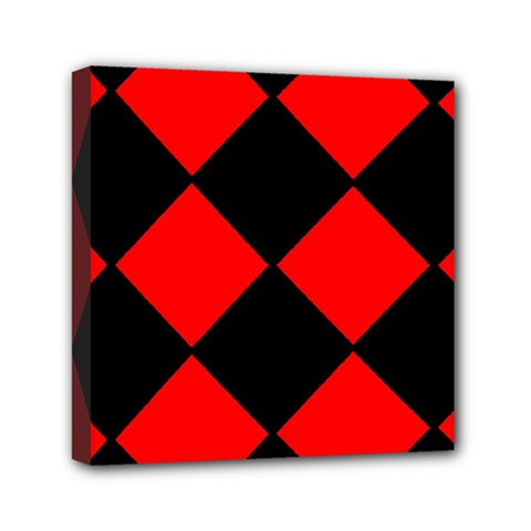 Red Black Square Pattern Mini Canvas 6  X 6