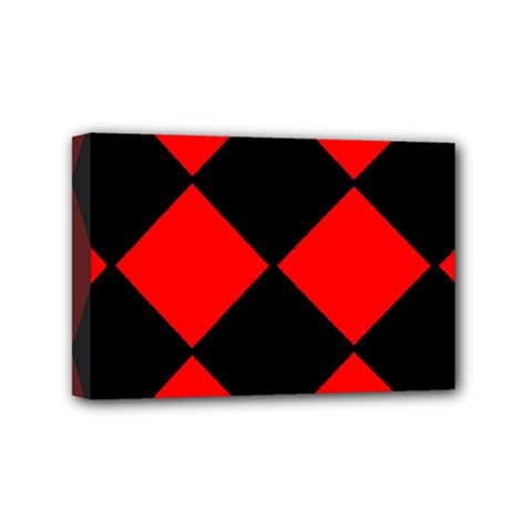 Red Black square Pattern Mini Canvas 6  x 4