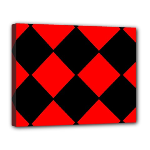 Red Black Square Pattern Canvas 14  X 11