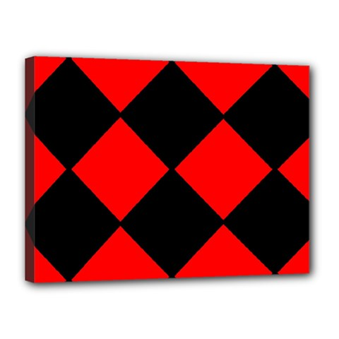 Red Black Square Pattern Canvas 16  X 12