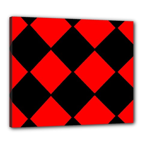 Red Black square Pattern Canvas 24  x 20