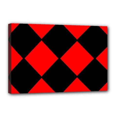 Red Black square Pattern Canvas 18  x 12