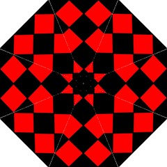 Red Black Square Pattern Folding Umbrellas