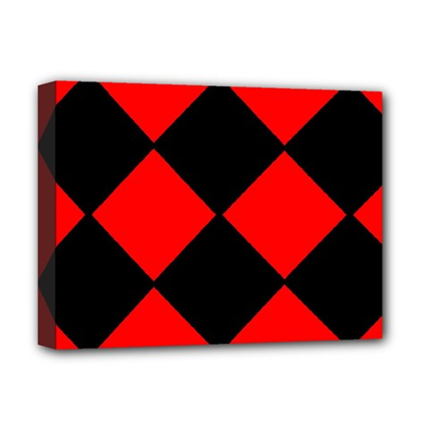 Red Black square Pattern Deluxe Canvas 16  x 12