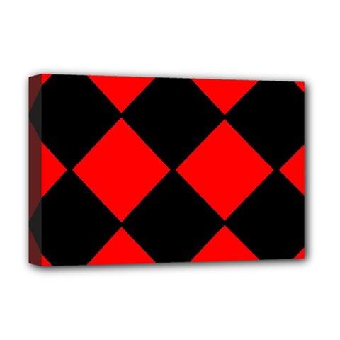 Red Black square Pattern Deluxe Canvas 18  x 12