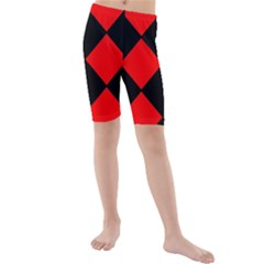 Red Black square Pattern Kids  Mid Length Swim Shorts