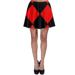 Red Black square Pattern Skater Skirt