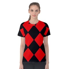 Red Black Square Pattern Women s Cotton Tee