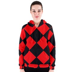 Red Black square Pattern Women s Zipper Hoodie