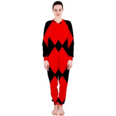Red Black square Pattern OnePiece Jumpsuit (Ladies)