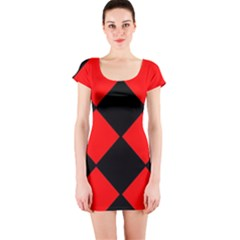 Red Black square Pattern Short Sleeve Bodycon Dress