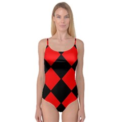 Red Black Square Pattern Camisole Leotard