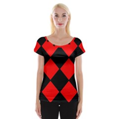 Red Black square Pattern Women s Cap Sleeve Top