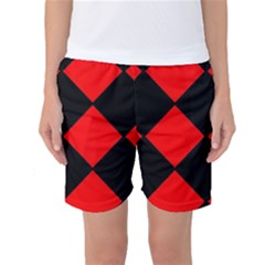 Red Black square Pattern Women s Basketball Shorts