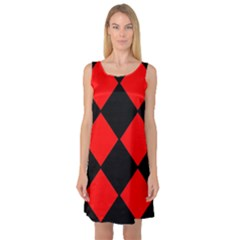 Red Black square Pattern Sleeveless Satin Nightdress