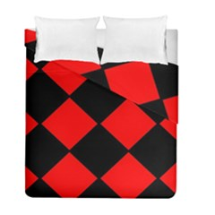 Red Black Square Pattern Duvet Cover Double Side (full/ Double Size)