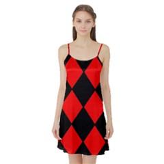 Red Black Square Pattern Satin Night Slip