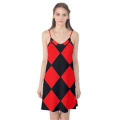 Red Black Square Pattern Camis Nightgown