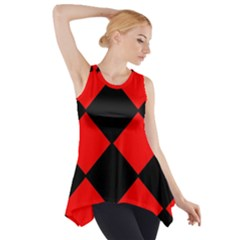 Red Black Square Pattern Side Drop Tank Tunic