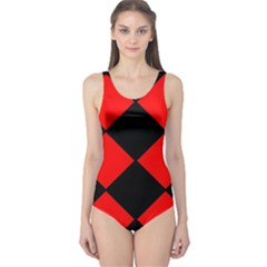 Red Black square Pattern One Piece Swimsuit