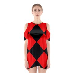 Red Black square Pattern Shoulder Cutout One Piece