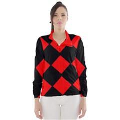 Red Black square Pattern Wind Breaker (Women)