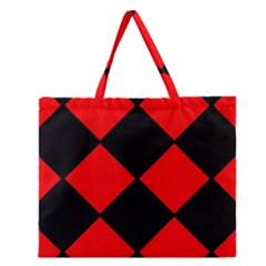 Red Black square Pattern Zipper Large Tote Bag