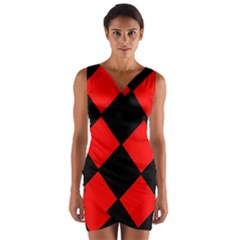Red Black square Pattern Wrap Front Bodycon Dress