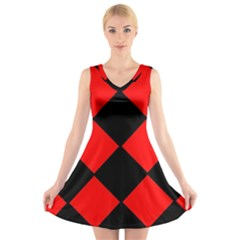 Red Black Square Pattern V Neck Sleeveless Skater Dress