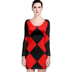 Red Black square Pattern Long Sleeve Velvet Bodycon Dress