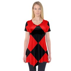 Red Black square Pattern Short Sleeve Tunic