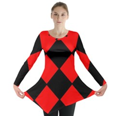 Red Black Square Pattern Long Sleeve Tunic