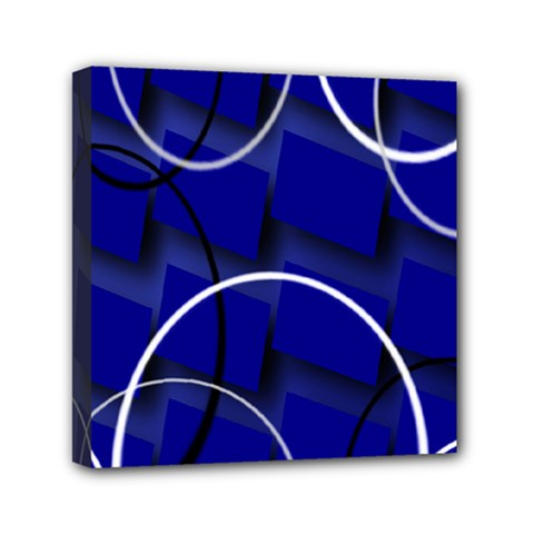 Blue Abstract Pattern Rings Abstract Mini Canvas 6  X 6