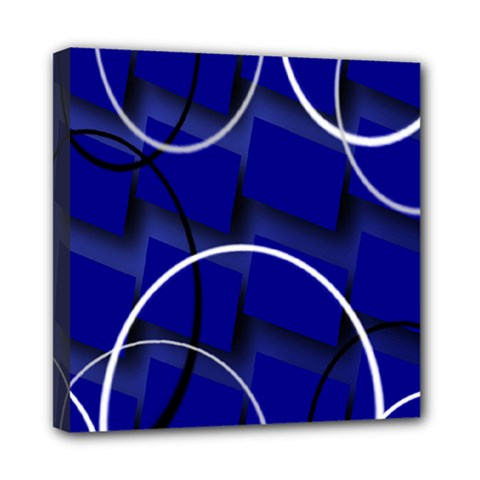 Blue Abstract Pattern Rings Abstract Mini Canvas 8  x 8