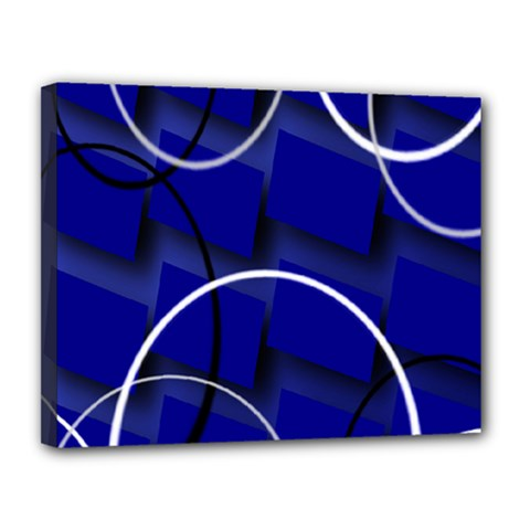Blue Abstract Pattern Rings Abstract Canvas 14  x 11