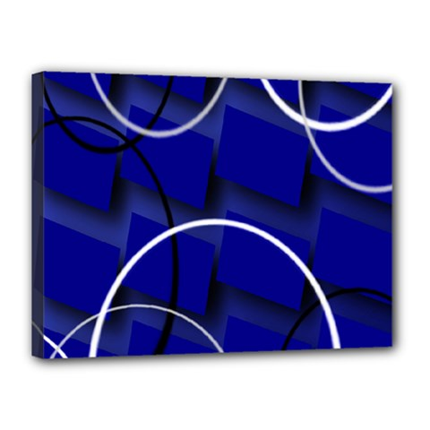 Blue Abstract Pattern Rings Abstract Canvas 16  X 12