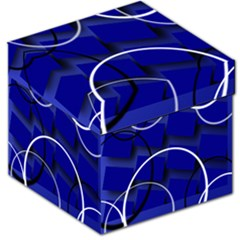 Blue Abstract Pattern Rings Abstract Storage Stool 12
