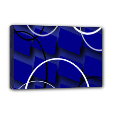 Blue Abstract Pattern Rings Abstract Deluxe Canvas 18  x 12