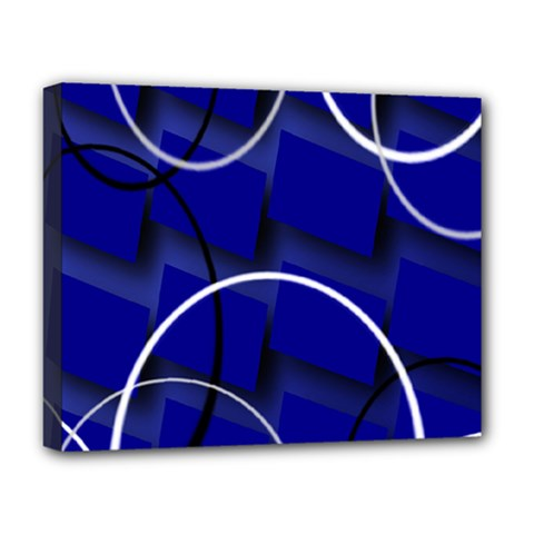 Blue Abstract Pattern Rings Abstract Deluxe Canvas 20  x 16