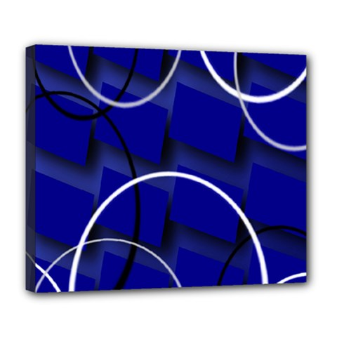 Blue Abstract Pattern Rings Abstract Deluxe Canvas 24  X 20