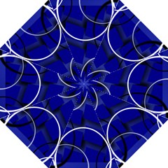 Blue Abstract Pattern Rings Abstract Hook Handle Umbrellas (Large)