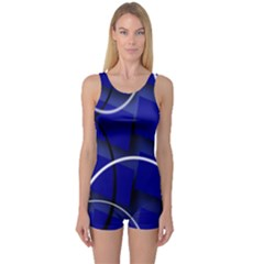 Blue Abstract Pattern Rings Abstract One Piece Boyleg Swimsuit