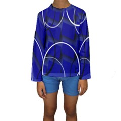 Blue Abstract Pattern Rings Abstract Kids  Long Sleeve Swimwear