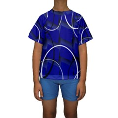 Blue Abstract Pattern Rings Abstract Kids  Short Sleeve Swimwear