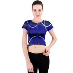 Blue Abstract Pattern Rings Abstract Crew Neck Crop Top